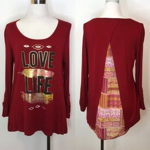 Self Esteem L High Low Top Blouse Love Life Tunic